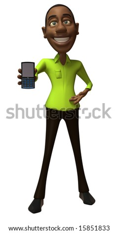Black guy with a mobile phone