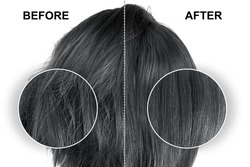 Black hair before and after treatment, straightening