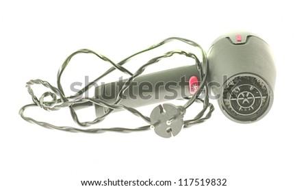 black hair dryer on a white background