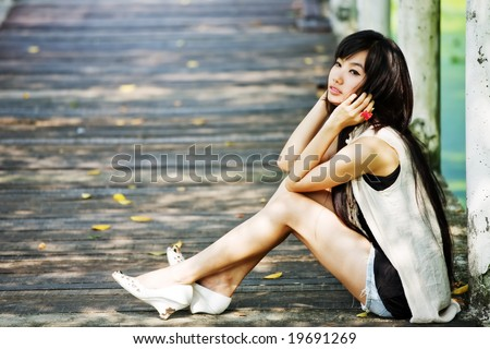 stock photo : Black hair model enjoy the afternoon