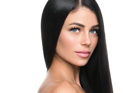 Black hair woman long brunette hairstyle beauty lashes