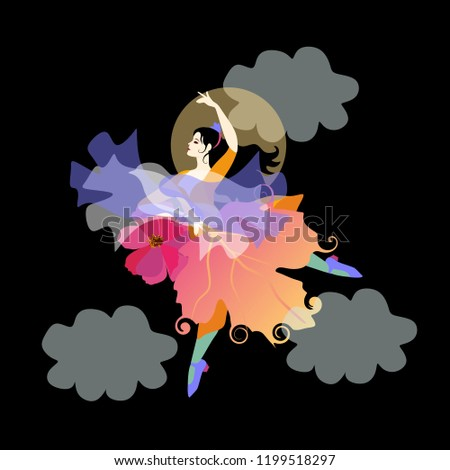 Stock Photo Black-haired girl wearing skirt that looks like an autumn leaf, with fan in the form of flower and shawl in the shape of flying bird, is dancing flamenco in the night sky opposite the moon and clouds.