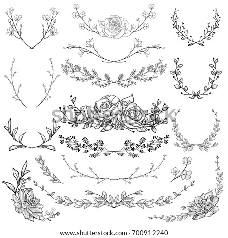 Black Hand Drawn Herbs, Plants and Flowers, Florals. Decorative Branches, Laurels Shapes, Silhouettes. Illustration