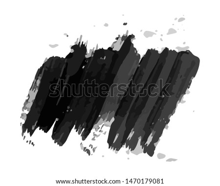 Black hand drawn ink stain. Ink spot isolated on white background