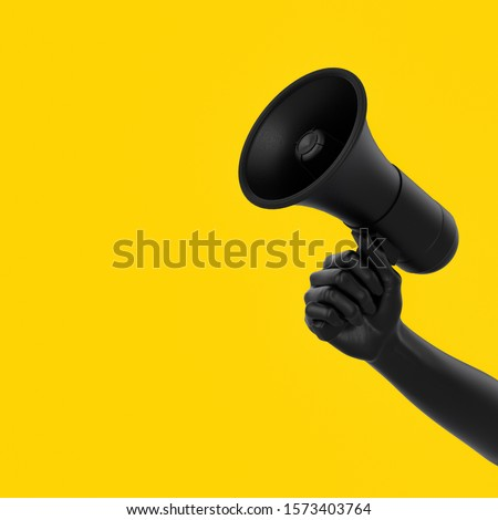 Black hand holding Megaphone on yellow background. Isolated loudspeaker announcement and communication creative banner concept. 3d rendering.