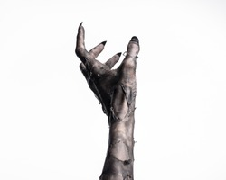 black hand of death, the walking dead, zombie theme, halloween theme, zombie hands, white background, isolated, hand of death, mummy hands, the hands of the devil, black nails, hands monster