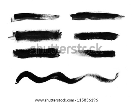 Black hand painted brush strokes collection
