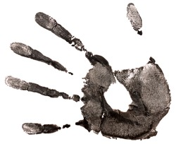 black hand print on a white