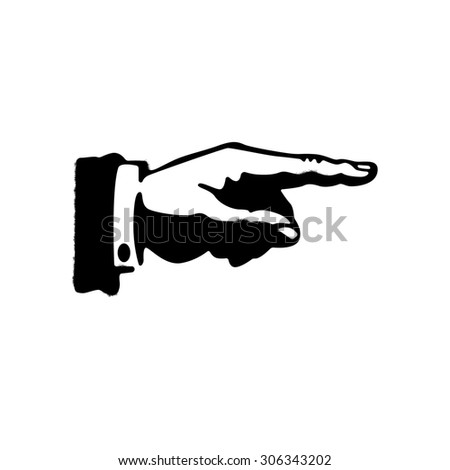 Black hand silhouette with pointing finger. Direction sign