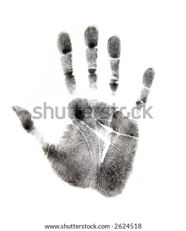 Black Handprint on White