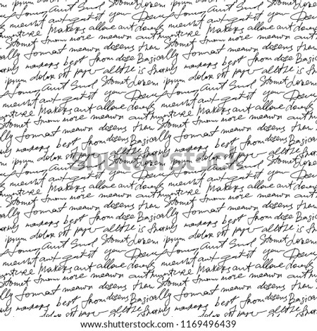 Black handwritten text on white repetition background. Poetry type seamless decor. Calligraphy write type text, sketch manuscript illustration