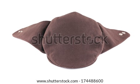 Black hat close up. Isolated on a white background.