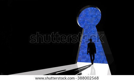 Black hat hacker walks through keyhole shaped backdoor towards a random letter background 3d security concept