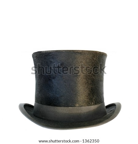 black hat over white