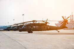 black hawk on parking concept technology of battle USA VS Iran. .