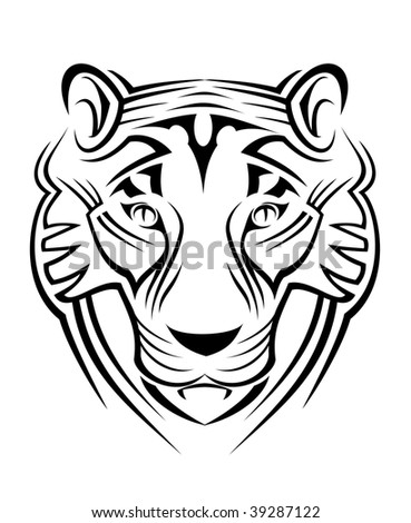 Black Head Of A Tiger Suitable For A Tribal Tattoo Design Isolated