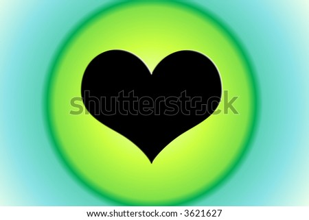 Black Heart On Green Circle Background #3621627