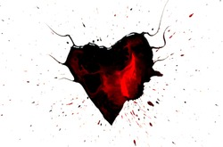 Black heart with horns with red drops and stains and black paint spray around isolated on white background.