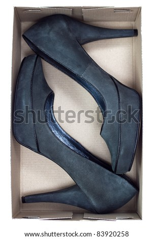 black heel shoes in box isolated on white - top view
