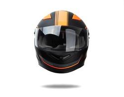Black helmet whit orange stripes isolated on white background