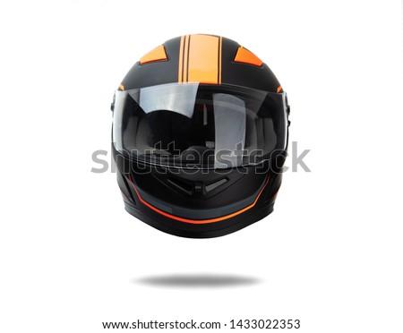 Black helmet whit orange stripes isolated on white background #1433022353