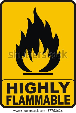 black highly flammable sign isolated on orange
