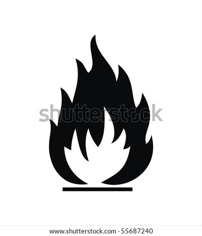 black highly flammable sign isolated on white