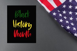 Black history month concept poster on black nackground with american flag