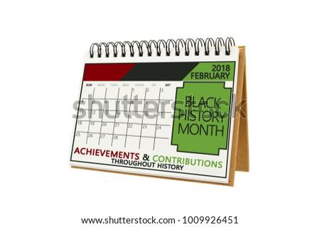 Black History Month February 2018 Calendar white background #1009926451