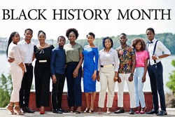 Black History Month. Group of ten african american people. Celebrated annual February (USA and Canada), October (Great Britain).