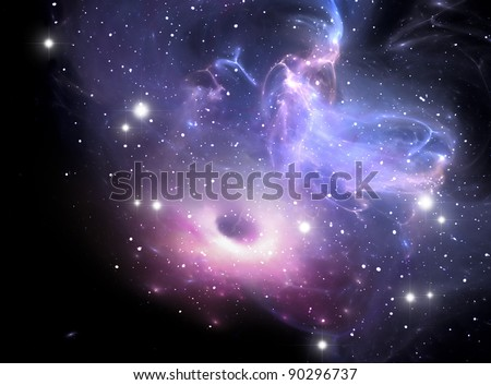 Black hole in the nebula - stock photo