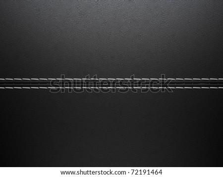 Black horizontal stitched leather background. Large resolution