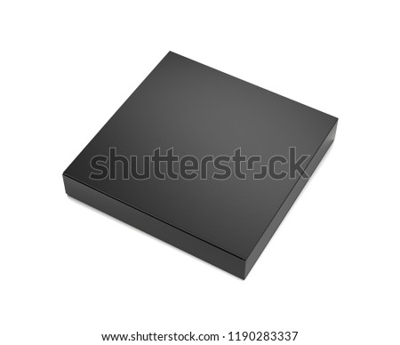 Black horizontal thin blank box from front top side far angle. 3D illustration isolated on white background.