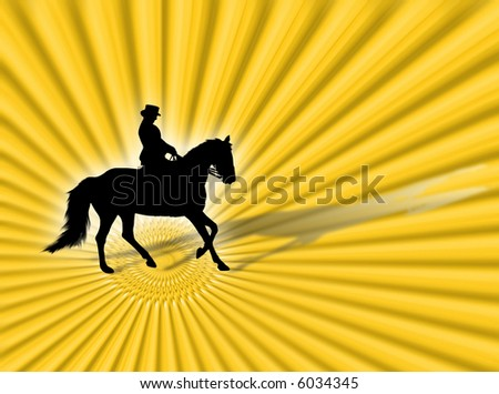 Black horse silhouette as symbol of equitation - stock photo