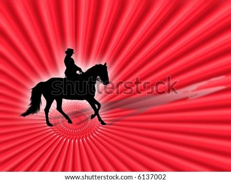 Black horse silhouette as symbol of equitation
