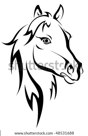 Black horse silhouette isolated on white for design. Vector version is also available
