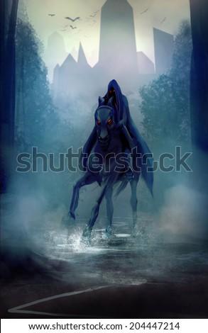 Stock Photo Black horseman. Black fantasy horseman with hood riding in dark forest road illustration.