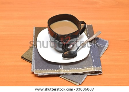 Black hot coffee cup with chocolate