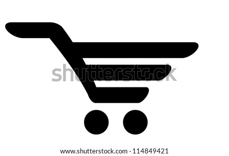 Black icon of shopping cart