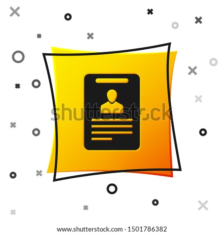 Black Identification badge icon isolated on white background. It can be used for presentation, identity of the company, advertising. Yellow square button
