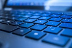 black illuminated laptop keyboard