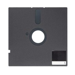 Black 5.25-inch floppy disk or diskette isolated on white background