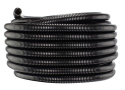 Black industrial corrugated pipe - spool  Isolated