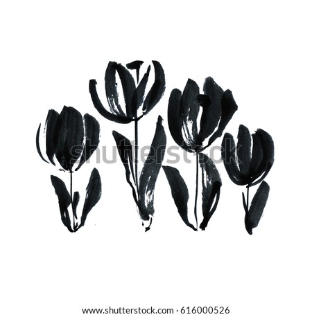 black ink concept modern tulip flower sketch hand drawn spring