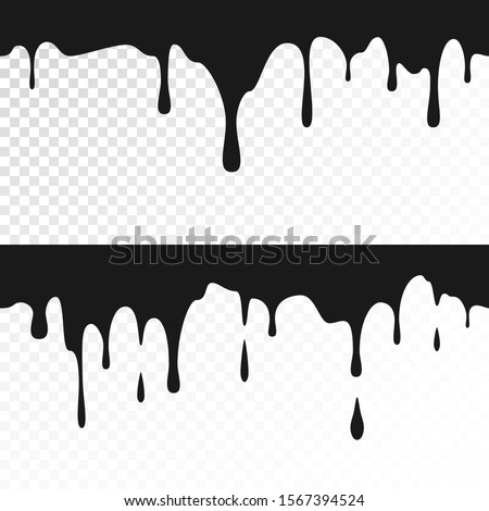 Black ink drips. Seamless Dripping Paint Texture. illustration
