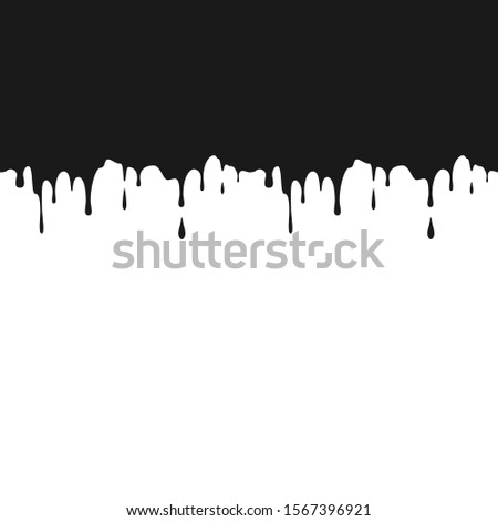 Black ink drips. Seamless Dripping Paint Texture. Splatters and Dripping. illustration isolated on white background