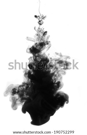 Black ink drop in water isolated on white