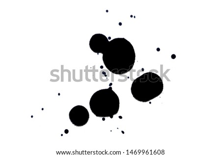 Black ink pen and ink lining on a white background. Ink spot. Black ink silhouette.