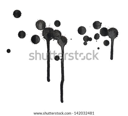Black ink spot stain composition with leaks over the white background - stock photo