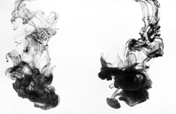 Black ink swirling in water on white background, copy space. Abstract art concept